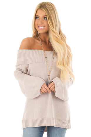 Oatmeal Off the Shoulder Sweater front close up