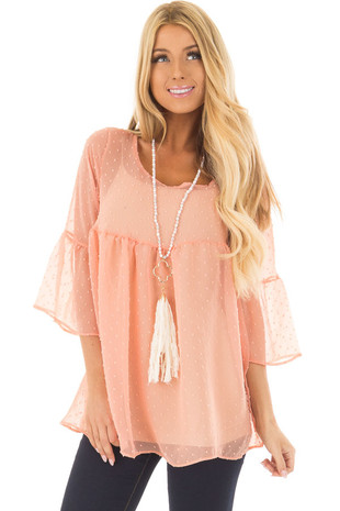 Blush Sheer Babydoll Top with Bell Sleeves front closeup