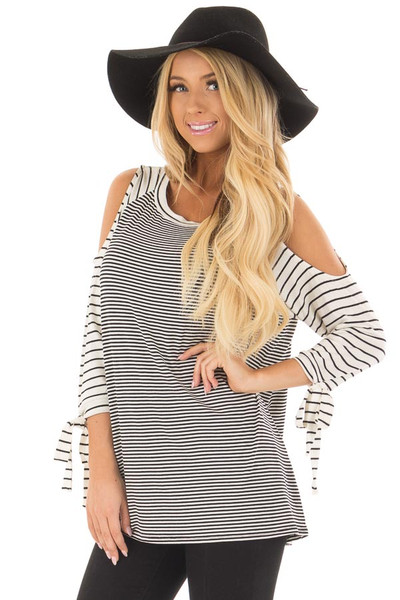 Black and Ivory Striped Cold Shoulder Top with Sleeve Ties front close up