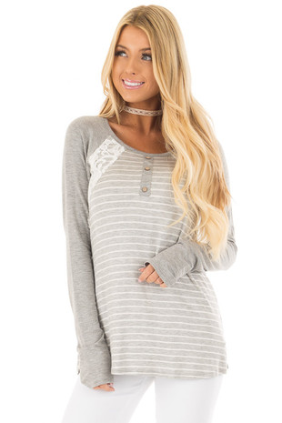Heather Grey Striped Raglan Top with Lace Detail front close up