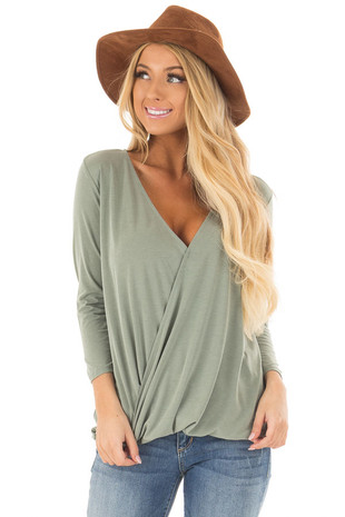 Sage Crossover Drape 3/4 Sleeve Soft Top front close up