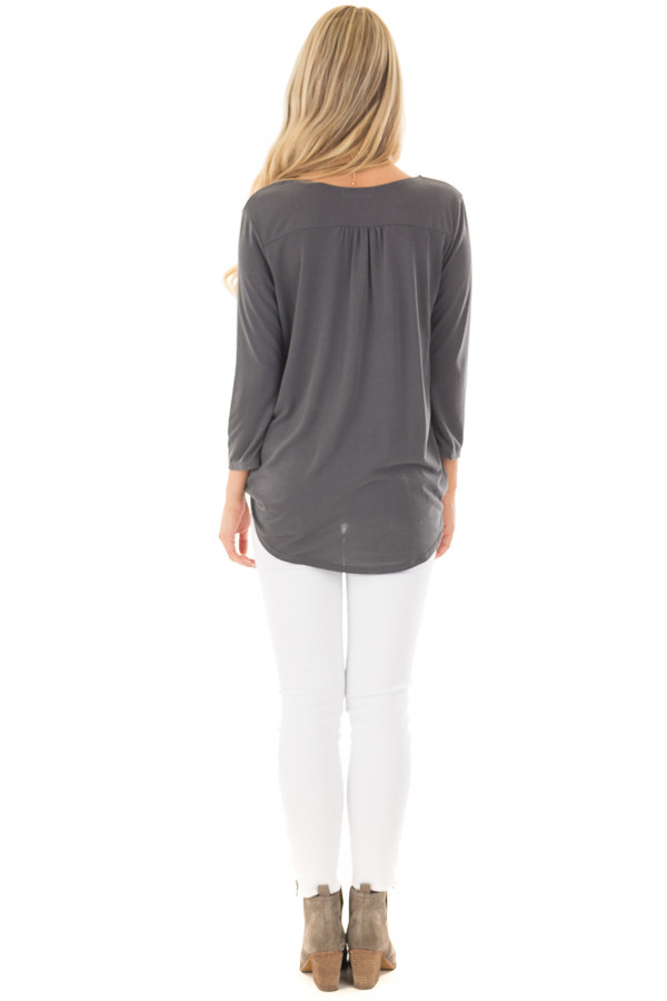 Charcoal Crossover Drape 3/4 Sleeve Soft Top back full body