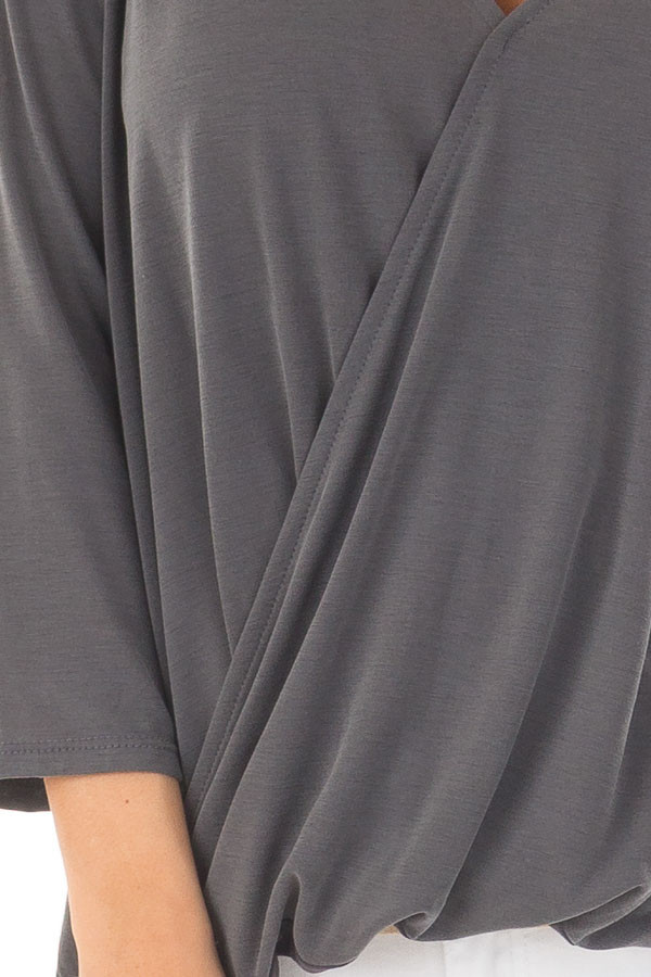 Charcoal Crossover Drape 3/4 Sleeve Soft Top detail