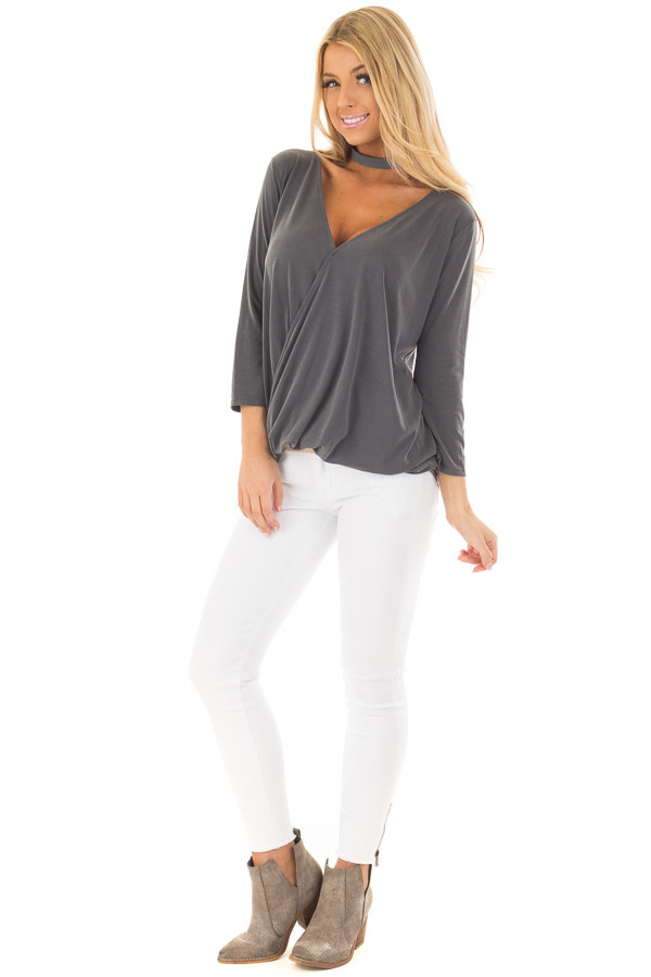 Charcoal Crossover Drape 3/4 Sleeve Soft Top front full body