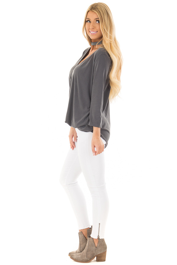 Charcoal Crossover Drape 3/4 Sleeve Soft Top side full body