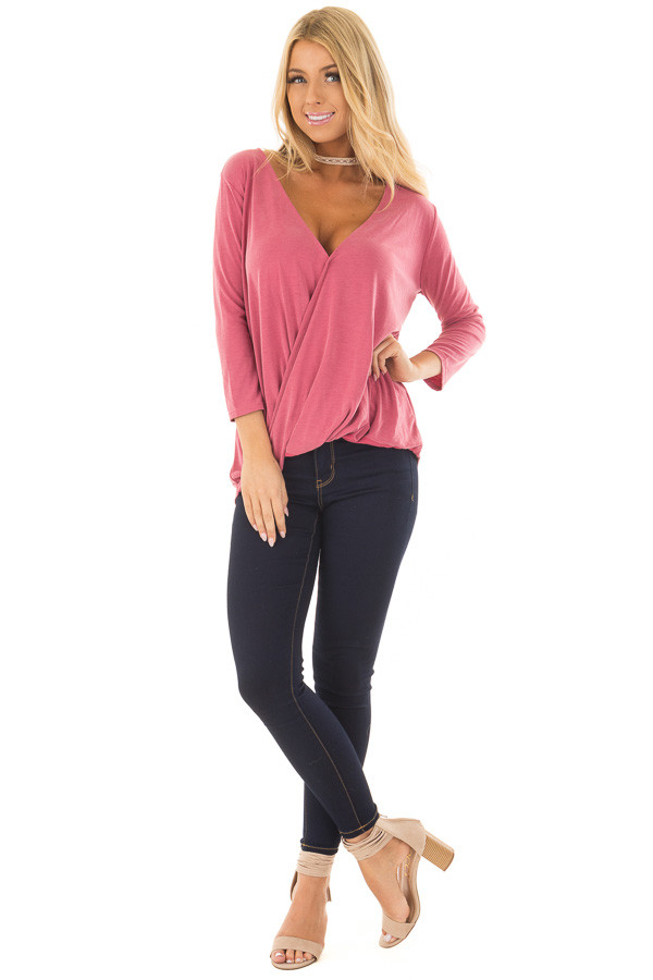 Deep Rose Crossover Drape 3/4 Sleeve Soft Top front full body