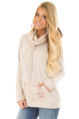 Taupe Cowl Neck Sweater with Lace Detail front close up
