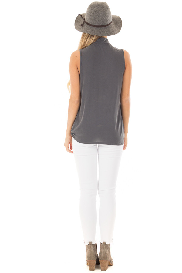 Charcoal Criss Cross Soft Tank Top with Choker Band back full body