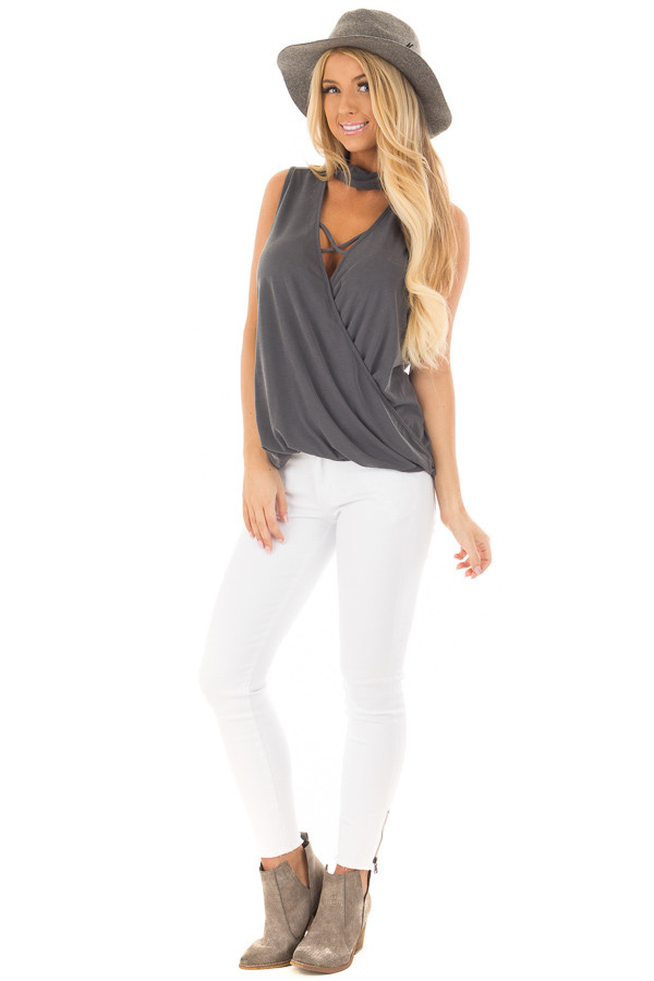 Charcoal Criss Cross Soft Tank Top with Choker Band front full body
