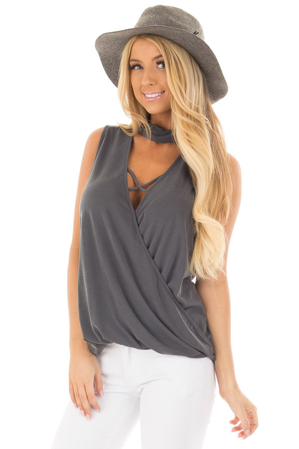 Charcoal Criss Cross Soft Tank Top with Choker Band front close up