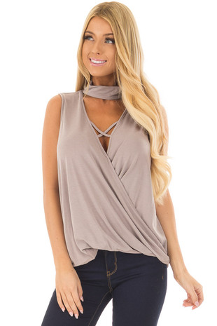 Taupe Criss Cross Soft Tank Top with Choker Band front closeup