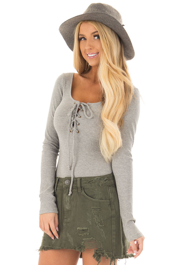Heather Grey Lace Up Body Suit with Ribbed Detail front close up