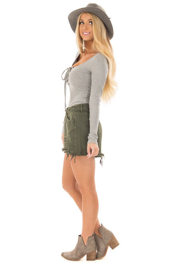 Heather Grey Lace Up Body Suit with Ribbed Detail side full body