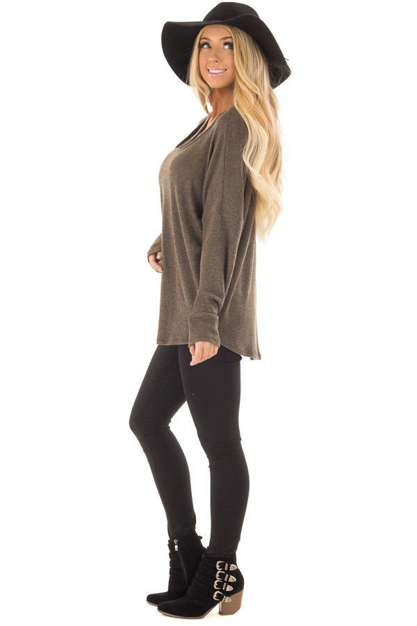 Olive Ribbed Top with V Band Neckline side full body
