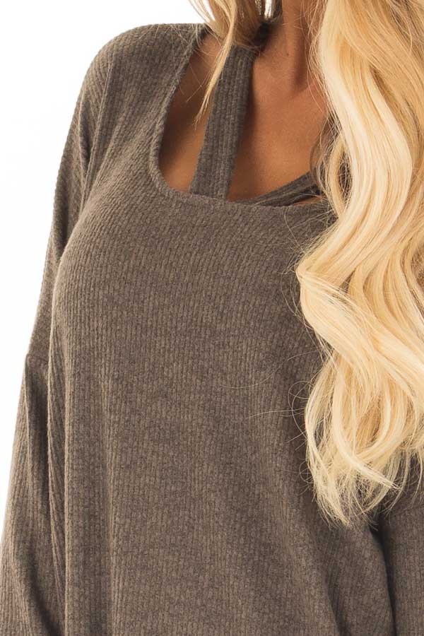 Olive Ribbed Top with V Band Neckline front detail