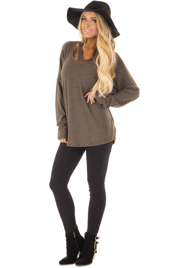 Olive Ribbed Top with V Band Neckline front full body
