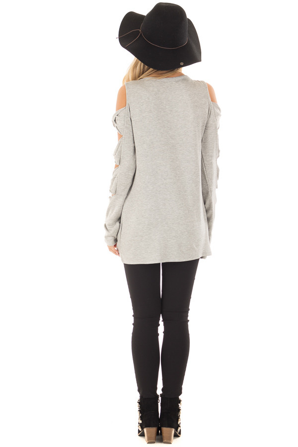 Heather Grey Cold Shoulder Top with Twisted Ladder Sleeves back full body