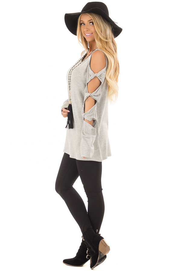 Heather Grey Cold Shoulder Top with Twisted Ladder Sleeves side full body