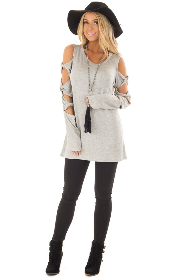 Heather Grey Cold Shoulder Top with Twisted Ladder Sleeves front full body
