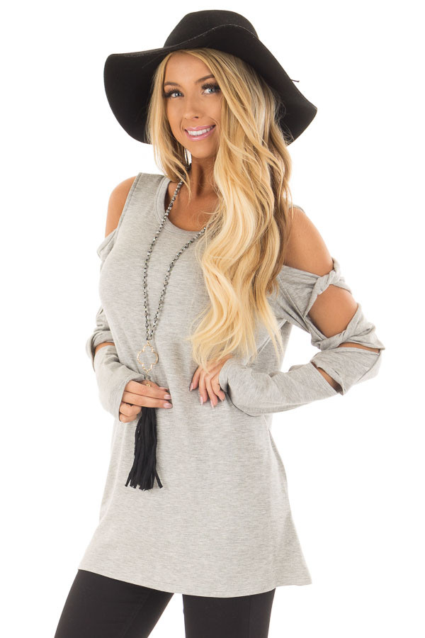 Heather Grey Cold Shoulder Top with Twisted Ladder Sleeves front closeup