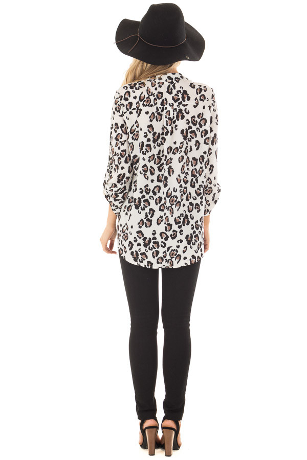 Ivory Leopard Print V Neck Top with Roll Up Sleeves back full body