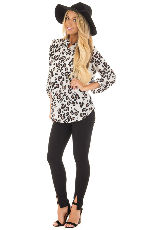 Ivory Leopard Print V Neck Top with Roll Up Sleeves front full body