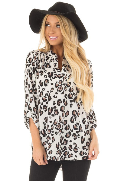 Ivory Leopard Print V Neck Top with Roll Up Sleeves front closeup