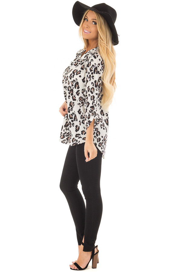 Ivory Leopard Print V Neck Top with Roll Up Sleeves side full body