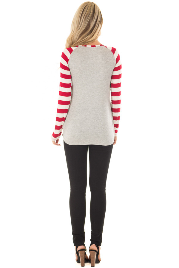 Heather Grey 'Love is all you need' Top with Striped Sleeves back full body