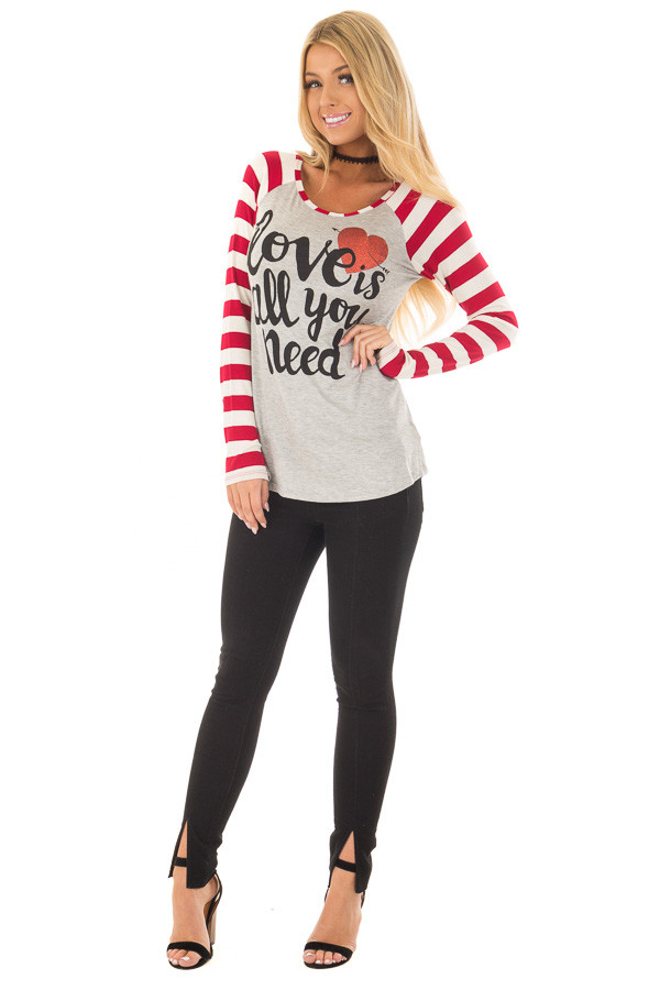 Heather Grey 'Love is all you need' Top with Striped Sleeves front full body