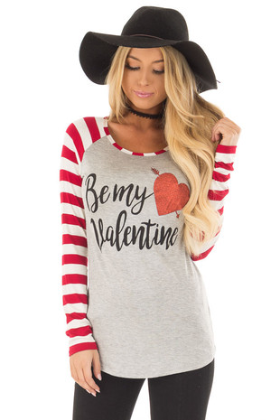 Heather Grey 'Be my valentine' Top with Striped Sleeves front close up