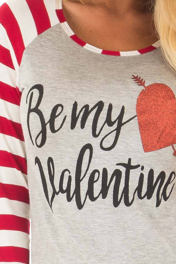 Heather Grey 'Be my valentine' Top with Striped Sleeves detail