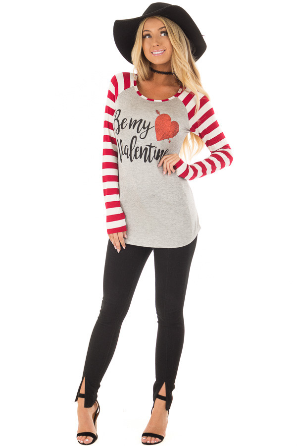 Heather Grey 'Be my valentine' Top with Striped Sleeves front full body