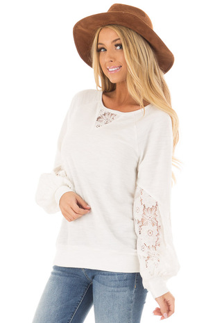 Off White Bubble Sleeve Top with Sheer Lace Detail front close up