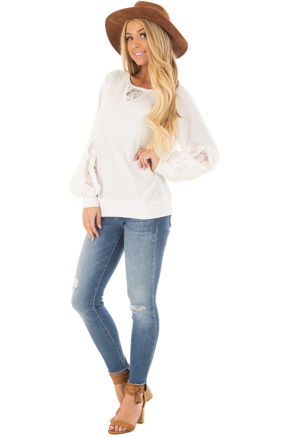 Off White Bubble Sleeve Top with Sheer Lace Detail front full body