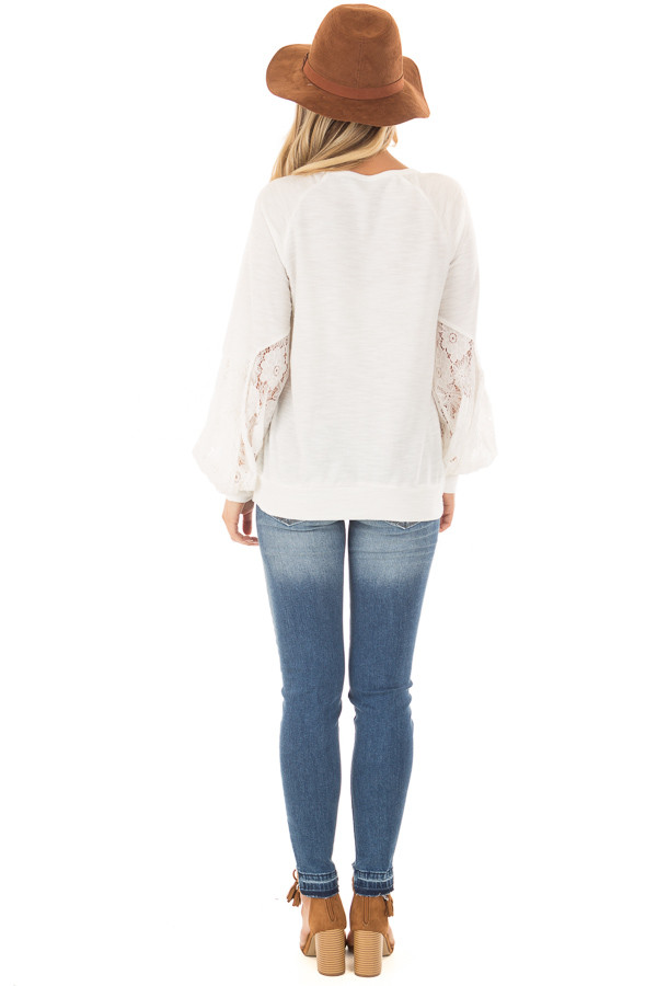 Off White Bubble Sleeve Top with Sheer Lace Detail back full body