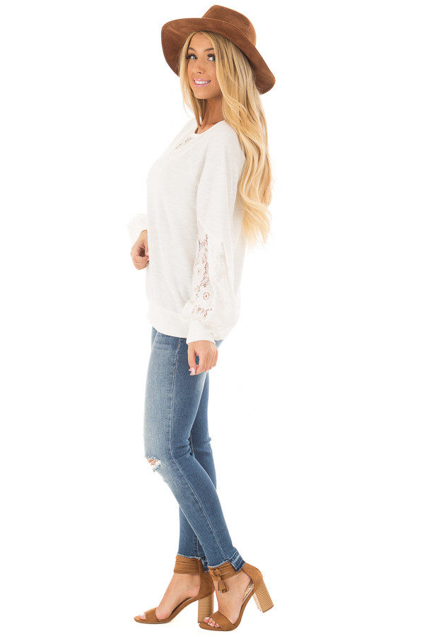 Off White Bubble Sleeve Top with Sheer Lace Detail side full body