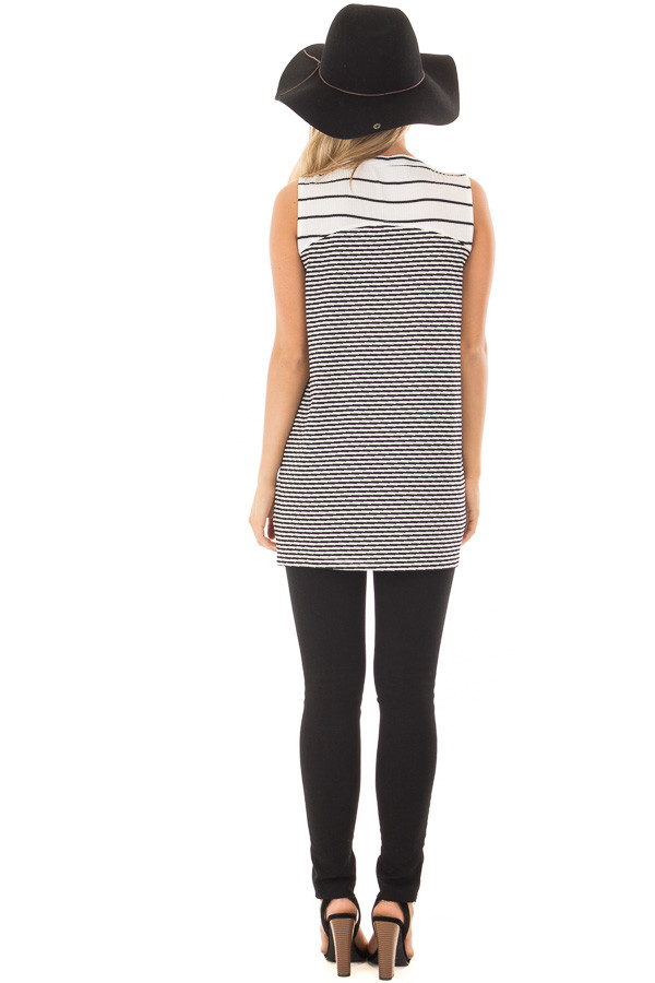 Ivory and Black Striped Tank Top back full body