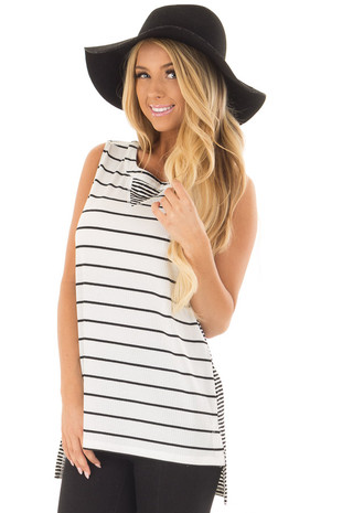 Ivory and Black Striped Tank Top front closeup
