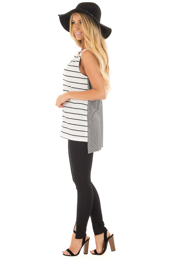 Ivory and Black Striped Tank Top side full body