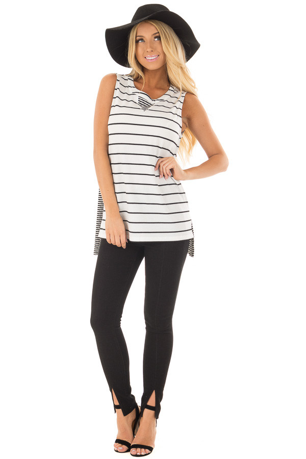 Ivory and Black Striped Tank Top front full body