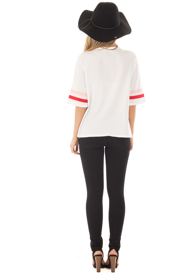 Off White 'Be Mine' Tee Shirt with Stripes on Sleeves back full body