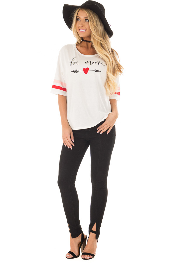Off White 'Be Mine' Tee Shirt with Stripes on Sleeves front full body