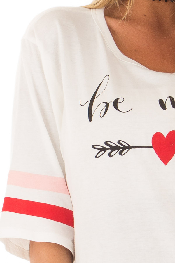 Off White 'Be Mine' Tee Shirt with Stripes on Sleeves front detail