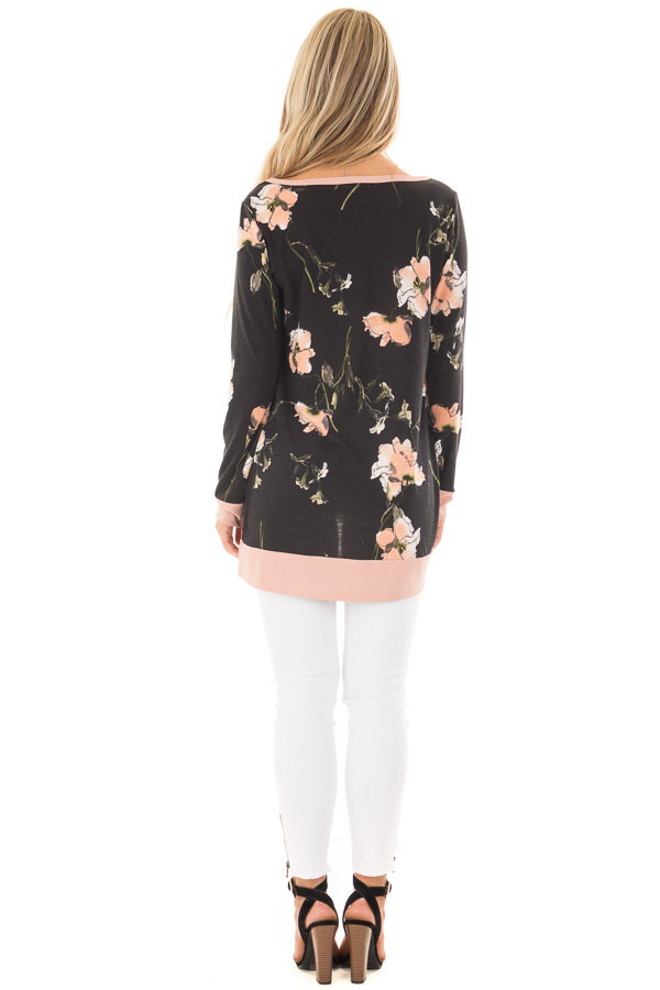 Black Floral Print Asymmetrical Top with Blush Contrast back full body