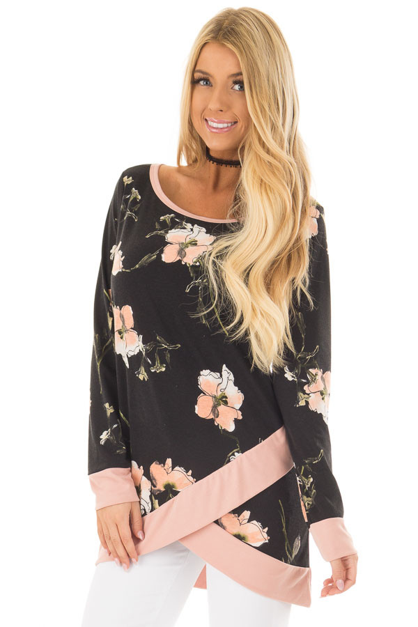 Black Floral Print Asymmetrical Top with Blush Contrast front closeup