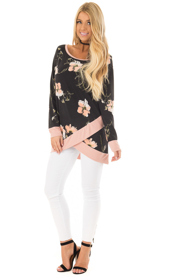 Black Floral Print Asymmetrical Top with Blush Contrast front full body