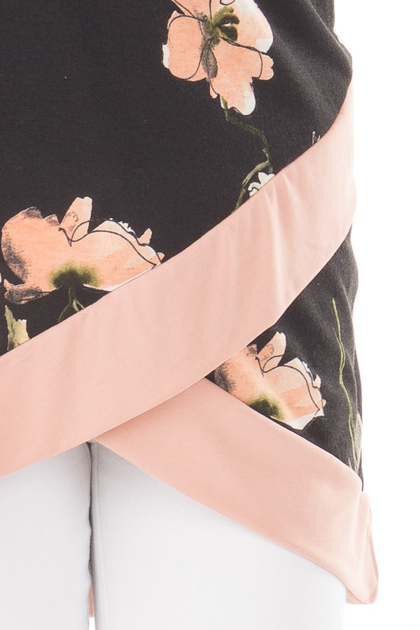 Black Floral Print Asymmetrical Top with Blush Contrast front detail