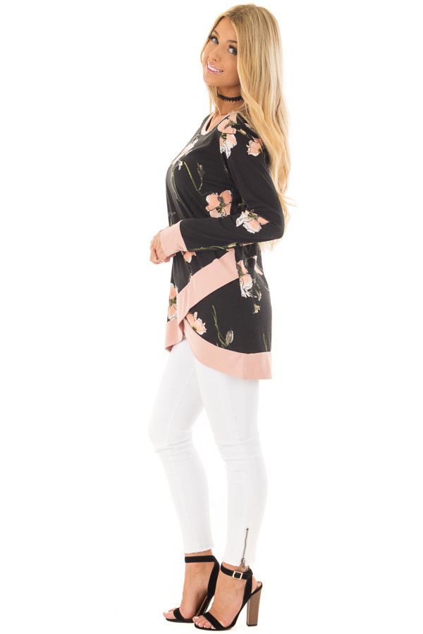 Black Floral Print Asymmetrical Top with Blush Contrast side full body