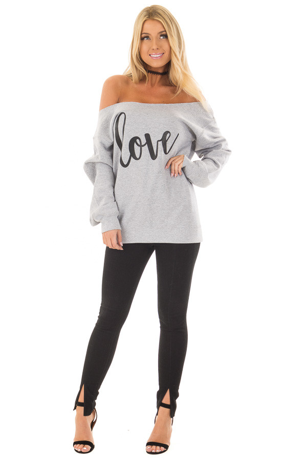 Cloud Grey Off the Shoulder 'Love' Top front full body
